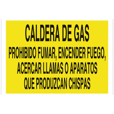 Señal advertencia solo texto - Caldera de gas